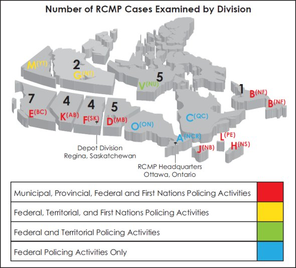A map of Canada illustrating the number of RCMP cases examined by division.