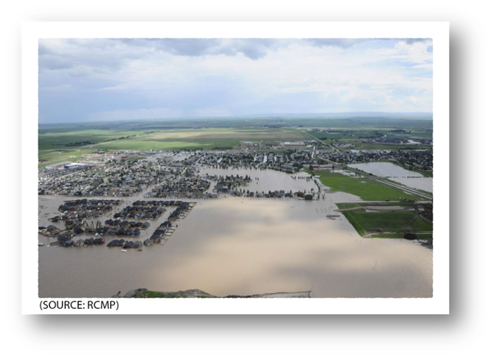 Aerial view of the flooded Town of High River.