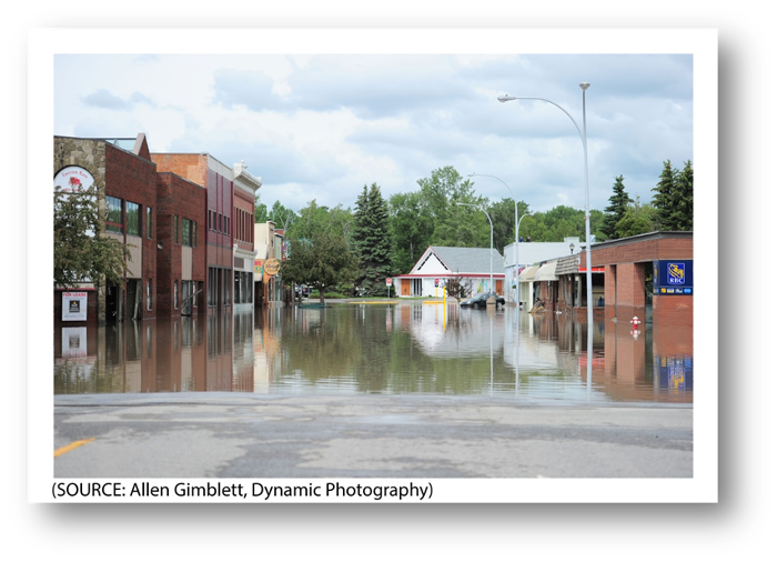 Photo of flooded downtown High River.