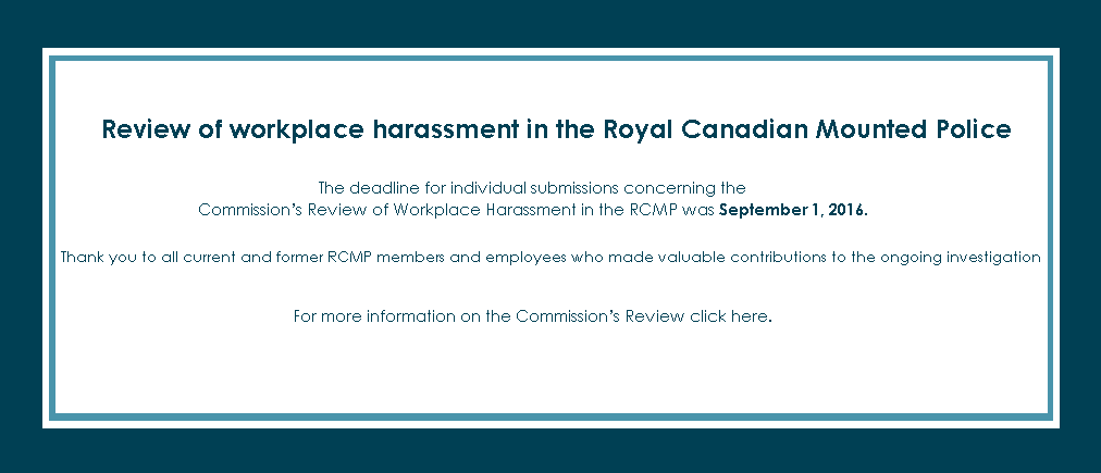 Review of workplace harassment in the Royal Canadian Mounted Police